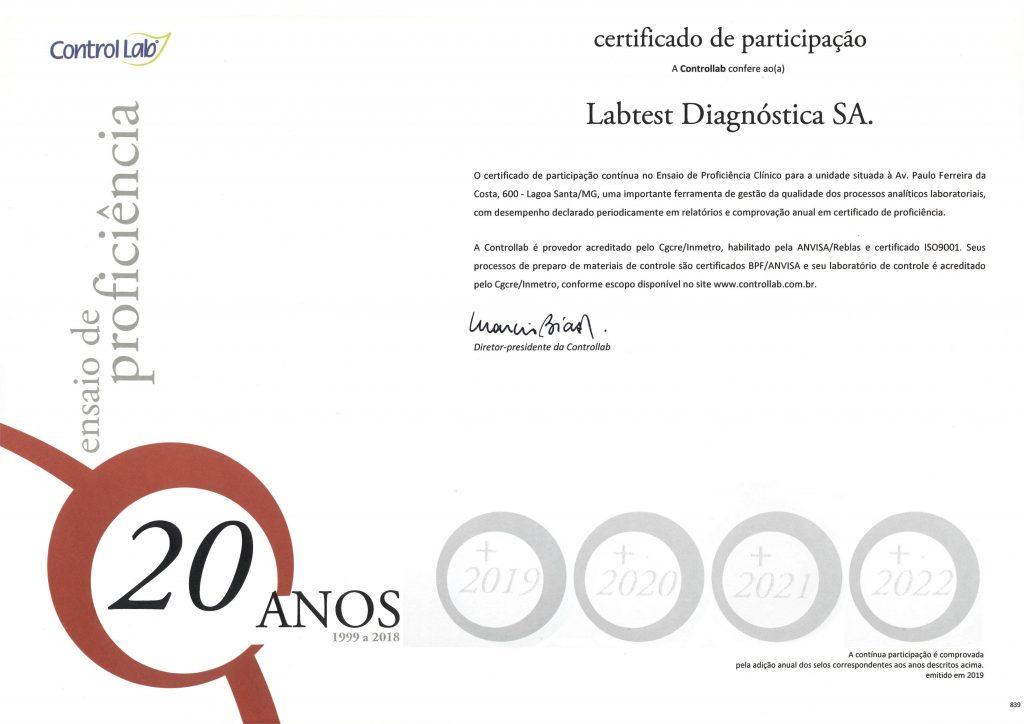 Qualidade comprovada! Labtest recebe da Controllab certificado por 20 anos de participação contínua em Ensaios de Proficiência